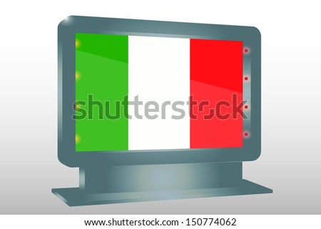 3D Illustration of a Glass Holder isolated with the flag of Italy - stock photo