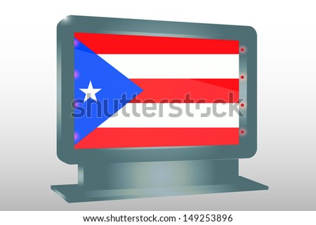 3D Illustration of a Glass Holder isolated with the flag of Puerto Rico - stock photo