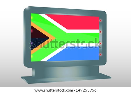 3D Illustration of a Glass Holder isolated with the flag of South Africa - stock photo