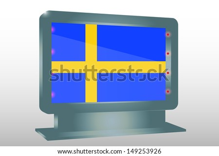 3D Illustration of a Glass Holder isolated with the flag of Sweden - stock photo