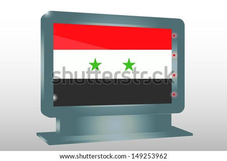 3D Illustration of a Glass Holder isolated with the flag of Syria - stock photo