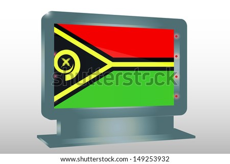 3D Illustration of a Glass Holder isolated with the flag of Vanuatu - stock photo