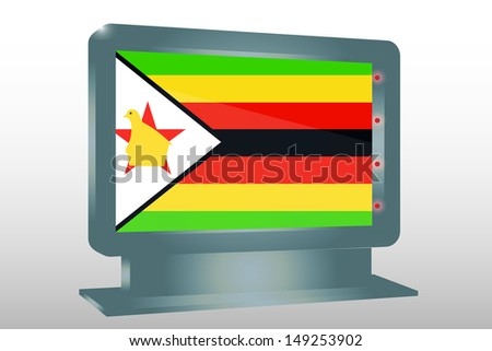 3D Illustration of a Glass Holder isolated with the flag of Zimbabwe - stock photo