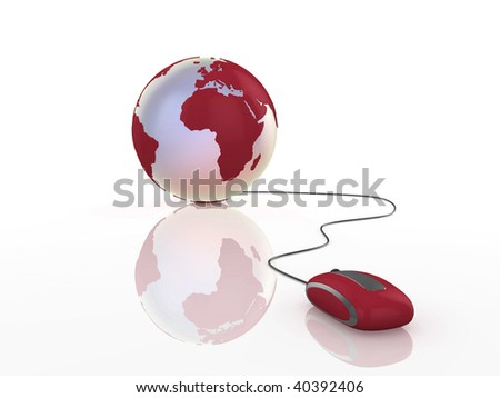 3d illustration of a globe with mouse on reflective surface. - stock photo