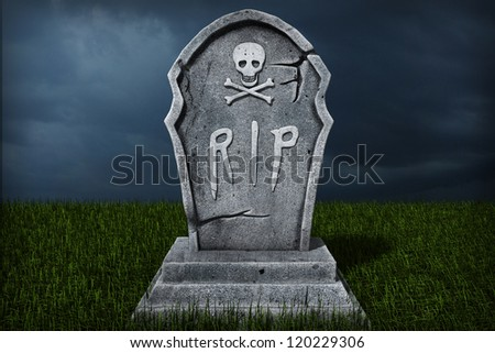 3d Illustration of a Gravestone - stock photo