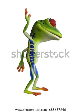 3d illustration of a  green cartoon tree  frog waving with one hand.