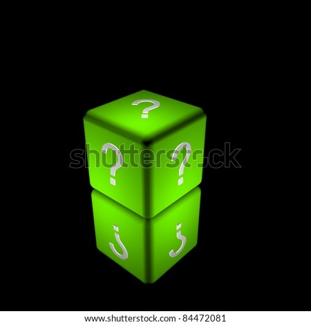 3d illustration of a green cube or dice, with a question mark symbol on each side. - stock photo