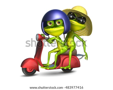 3D Illustration of a Green Frogs on a Red Motor Scooter