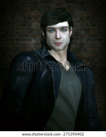 3D illustration of a handsome male character with black hair and blue eyes. He is wearing a leather jacket and standing in front of a brick wall.  - stock photo