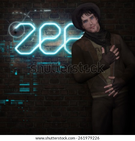 3D illustration of a handsome Male dressed in an urban outfit leaning against a brick wall with a  neon sign and hi tech symbols in the background.  - stock photo