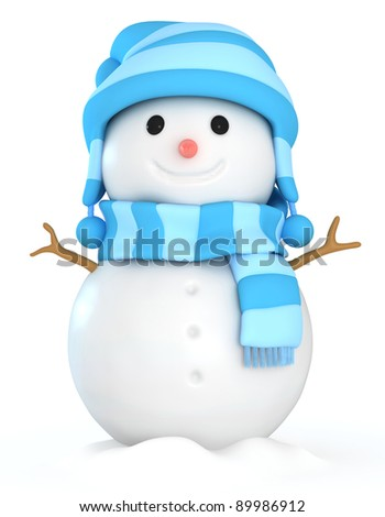 3D Illustration of a Happy Snowman - stock photo