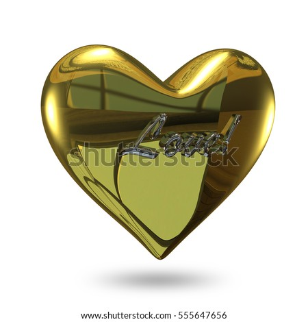3D Illustration of a Heart of Gold with an Inscription on a White Background