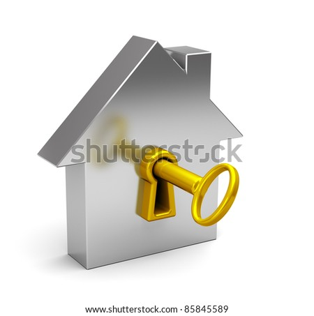 3d illustration of a house with a golden key - stock photo