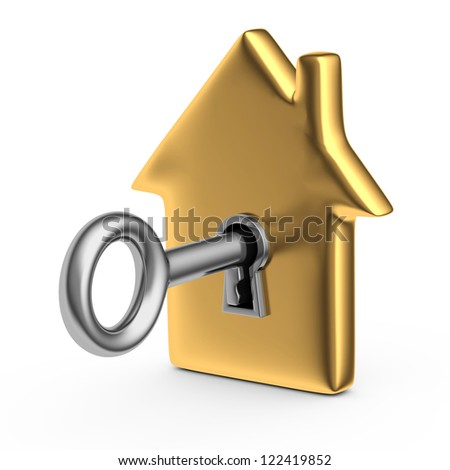 3d illustration of a house with a key - stock photo
