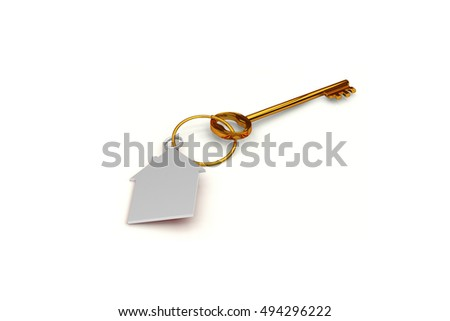 3d illustration of a key to the door of happiness and love at home