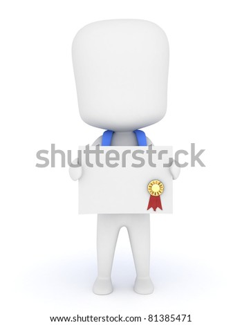 3D Illustration of a Kid Holding a Certificate