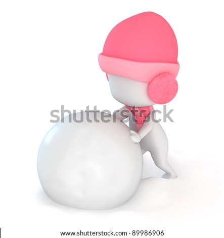 3D Illustration of a Kid Playing with Snow