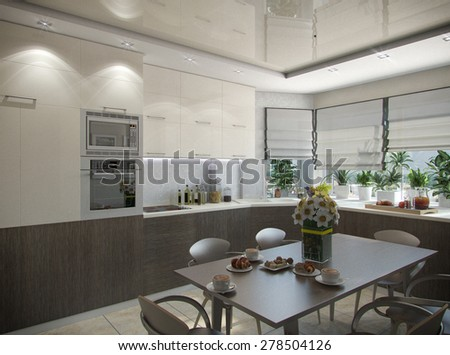 3d illustration of a kitchen in beige tones - stock photo