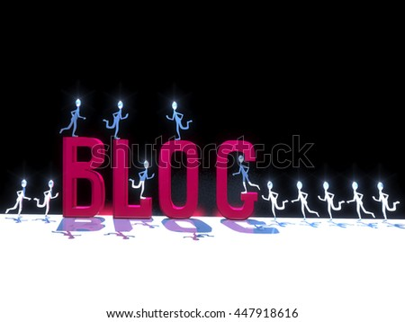 3D-illustration of a little metal men symbolic run to the red word blog, which stands on a white surface and black background - stock photo
