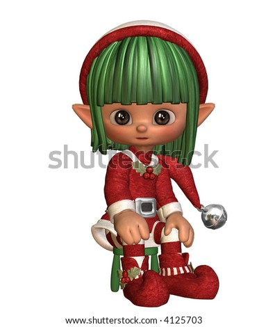 3D illustration of a little sitting elf - stock photo