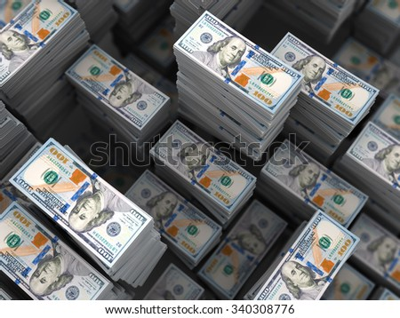 3d illustration of a lot of money stacks background - stock photo