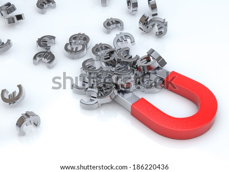 3d Illustration of a magnet attracting euro. (economy concept)