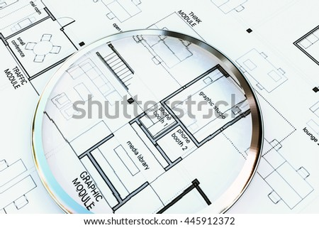 3d illustration of a magnifier on architecture plan  - stock photo
