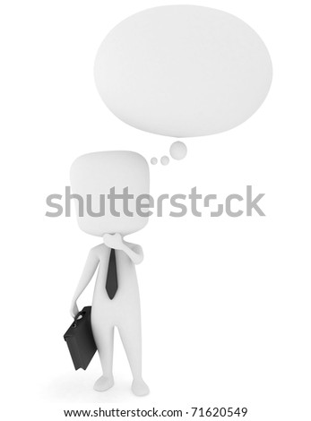 3D Illustration of a Man Scratching His Chin While Thinking - stock photo