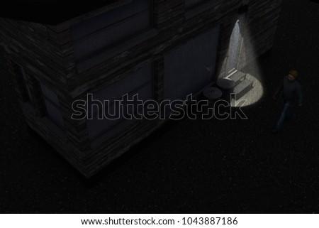 3d illustration of a man that walking alone at night