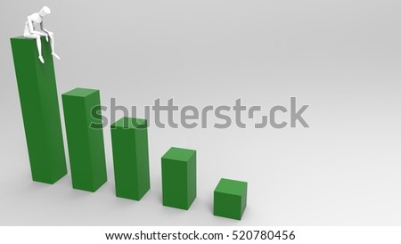 3D Illustration Of A Mannequin Person Sitting On a Giant Bar Graph On A Masked Transparent Background