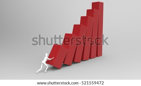 3D Illustration Of A Mannequin Person Tipping Over A Giant Bar Graph On A Masked Transparent Background Red