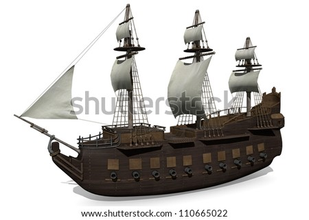 3d illustration of a medieval ship. - stock photo