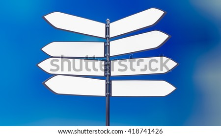 3D Illustration of a metal signpost in front of blue sky with blank arrows - stock photo