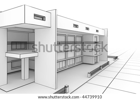 3d illustration of a modern house design in a blueprint style - stock photo