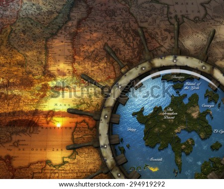 3D illustration of a nautical map with an old ship wheel and view of fantasy islands on the sea.  In the background is a pretty sunrise showing through the map.  Perfect for your renders or photmanips