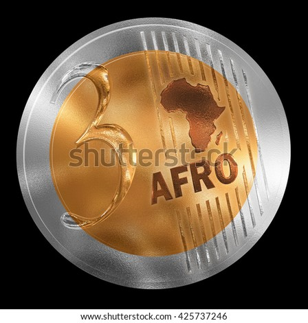 3D illustration of a non-existent coin. Conceptual monetary unit for Africa rendered similar to  European style. No in circulation. Coin value is Three. - stock photo