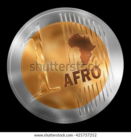 3D illustration of a non-existent coin. Conceptual monetary unit for Africa rendered similar to  European style. No in circulation. Coin value is One. - stock photo