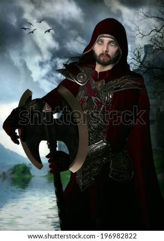 3D illustration of a Northern Ranger.  Wearing red and silver armor with a hooded cloak and holding a giant axe. Storm clouds, water and a castle in the background.  - stock photo
