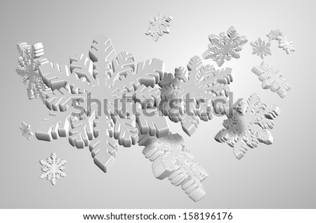 3d illustration of a number of white snow flakes / White snow flakes - stock photo