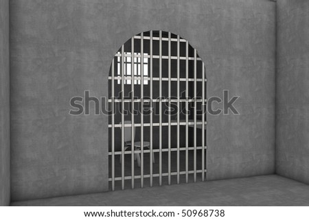 3d illustration of a old prison cell - stock photo
