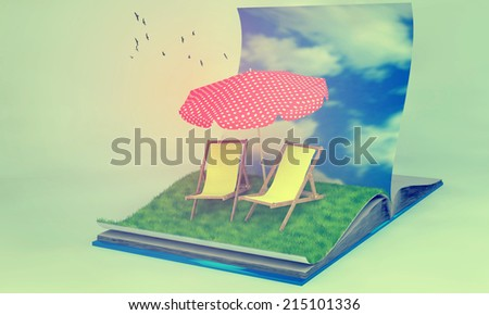 3d illustration of a opened book with sunbeds on grass field. traveling and vacation concept. Instagram filters. - stock photo