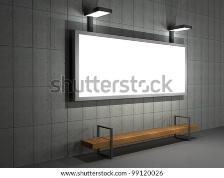 3d illustration of a outdoor advertising panel at night