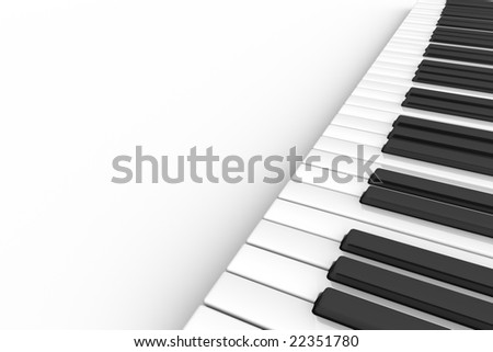 3D illustration of a piano keyboard on a white background