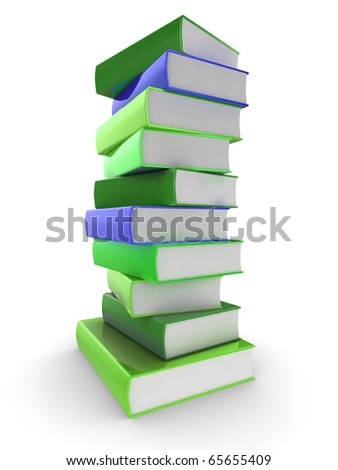 3d illustration of a pile of shiny colorful (colourful) books