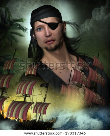 3D Illustration of a Pirate Captain wearing an eye patch with long black hair and a black bandanna.  Two pirate ships are fighting in the foreground with ocean waves and an explosion.