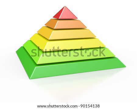 3d illustration of a pyramid with six colored levels