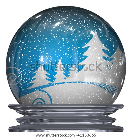 3d Illustration of a realistic snow globe with a winter scene inside. - stock photo