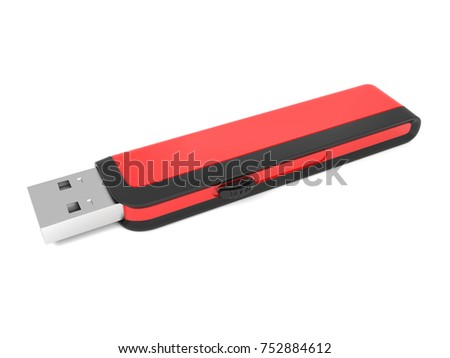 3d illustration of a red black metal flash drive on a white background.