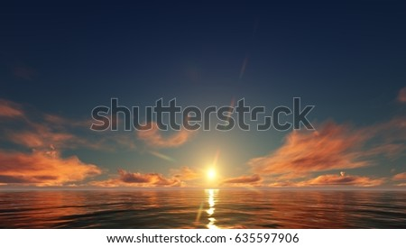 3d Illustration of a red sunset in the ocean