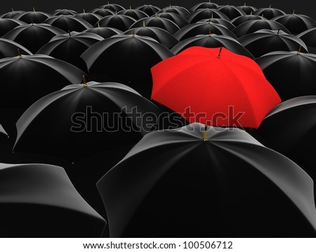 3d illustration of a red umbrella in the middle of several black umbrellas - stock photo